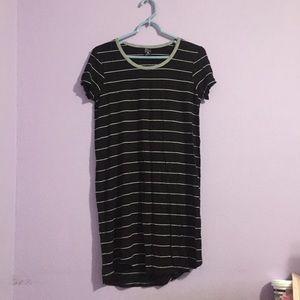 ‼️ Long Black and Gray T-Shirt Dress Striped